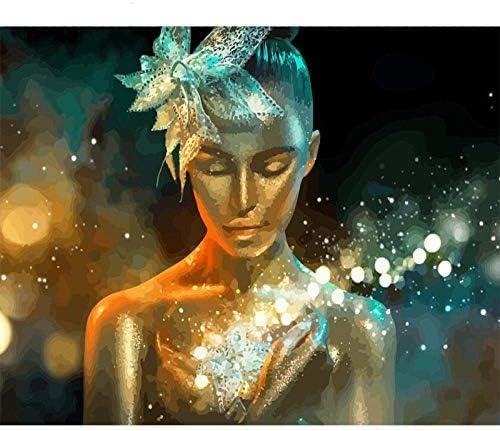 数字によるDIY油絵、数字によるペイント-壁のアートアートワークの絵画ホームリビングルームオフィスクリスマス新年バレンタインデコレーションギフト16 * 20インチフレームレス-発光する人