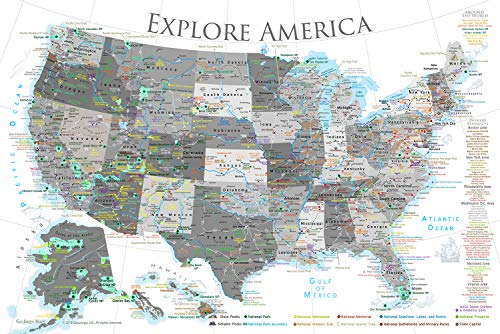 GeoJango National Parks Map Poster with USA Travel Destinations - Black & White Edition (30W x 20H inches)