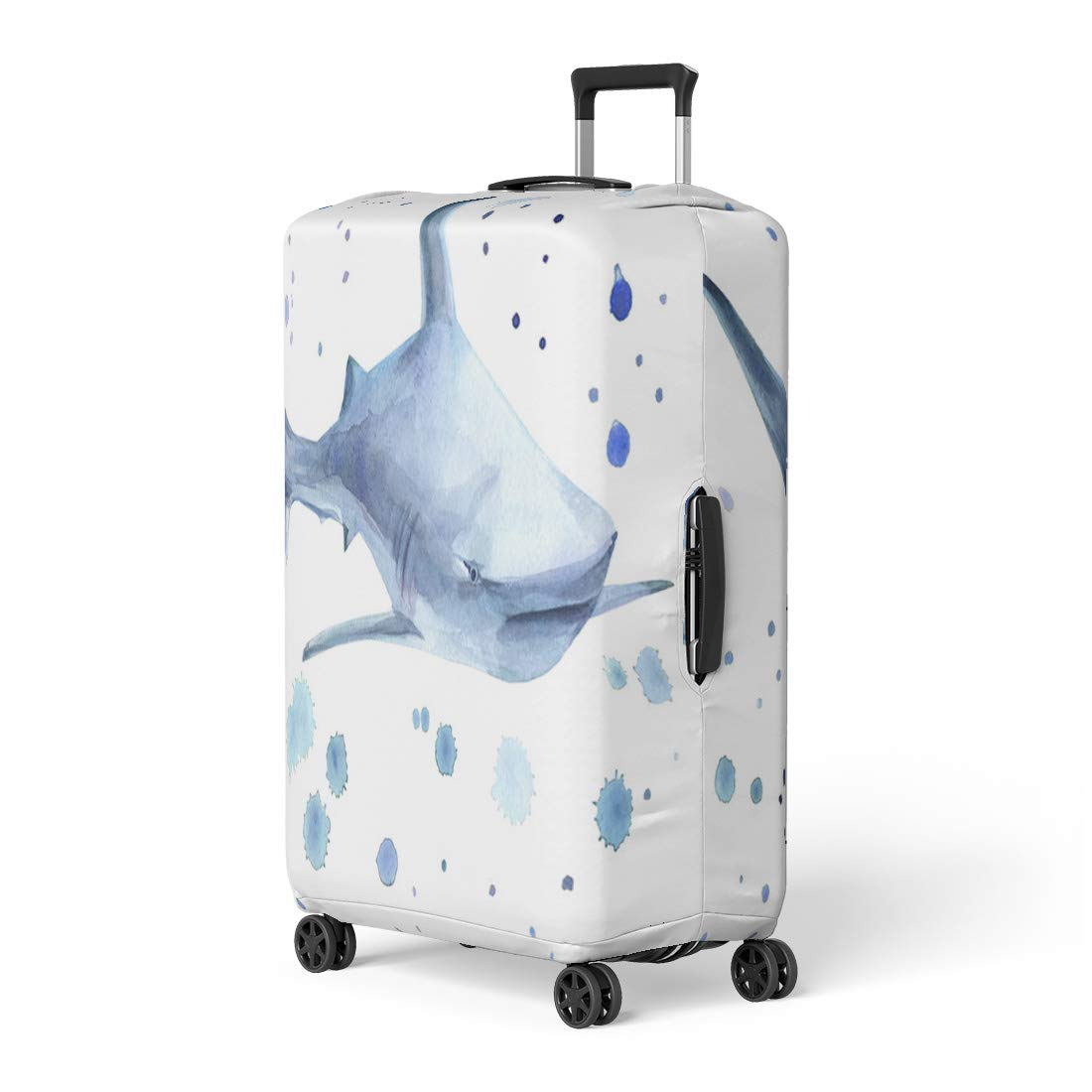 Semtomn Luggage Cover Blue Animal Shark and Watercolor Spray on Australia Beautiful Travel Suitcase Cover Protector Baggage Case Fits 26-28 Inch