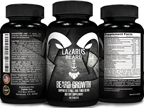 Beard Growth Supplements with Vitamins for a Fuller, Longer, & Thicker Beard | Promotes Faster Facial Hair Growth with natural ingredients including biotin | Made in USA | 30 day supply |