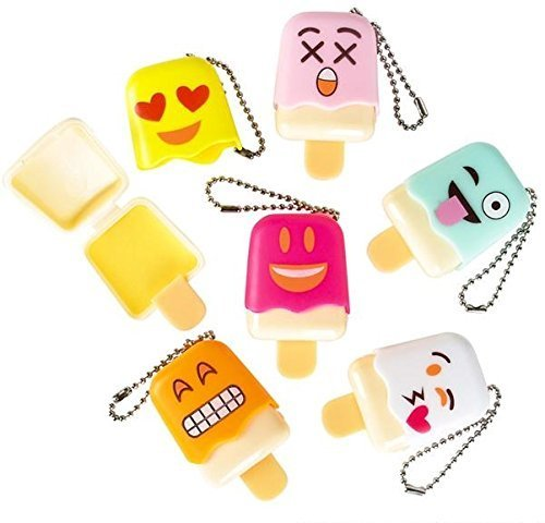 1 Dozen Of Emoji Face Emoticon Ice Pop Lip Gloss Keychain Birthday Party Favors, Great Stocking stuffer! By Blue Green Novelty]()
