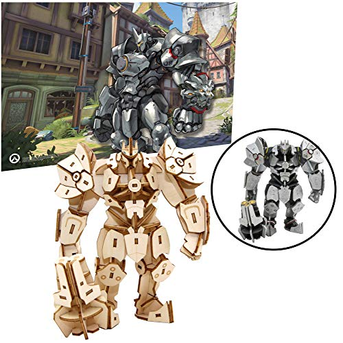 Overwatch Reinhardt Poster and 3D Wood Model Figure Kit - Build, Paint and Collect Your Own Wooden Toy Model - Great for Kids and Adults,12+ -