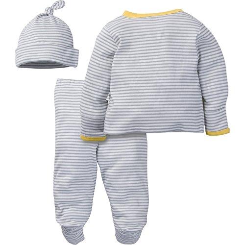 Gerber Baby 3 Piece Side Snap Mitten Cuff Shirt, Footed Pant & Cap, duck, 0-3 Months