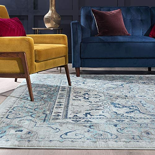 Tayse Veriana Aqua 8×10 Rectangle Area Rug for Living, Bedroom, or Dining Room – Boho, Medallion