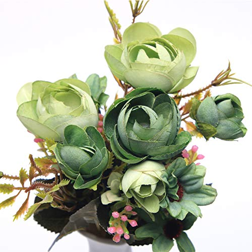 SimFre Artificial Flowers, Fake Flowers Artificial Pearl Bud Bouquet for Home Garden Party Wedding Decor and Table Centerpieces 3Pcs (Green) from SimFre