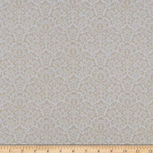 Henry Glass Gentle Garden Flannel Monotone Damask Cream Fabric by The Yard,