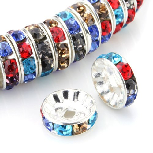 RUBYCA 100pcs 10mm A+++ Round Rondelle Spacer Charm Beads Silver Tone Multi-Color Czech - Balls Wholesale Disco