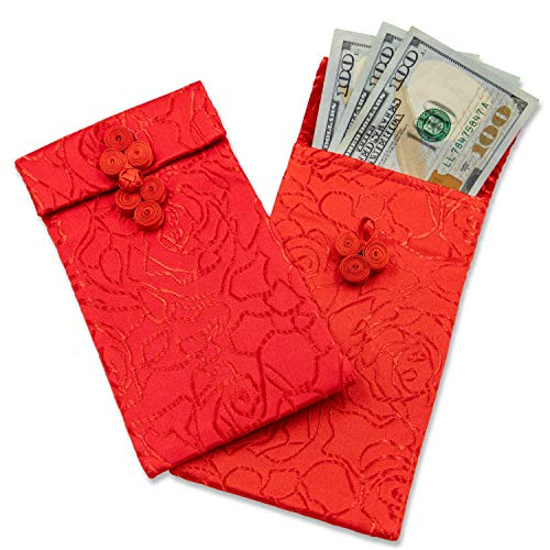 Chinese Silk Red Envelopes - 3-Piece Lunar New Year Hongbao Red Money Pockets, Silk Fabric Pouches, Bags for Jewelry, Gift, and Money, 3.7 x 6.7 Inches]()