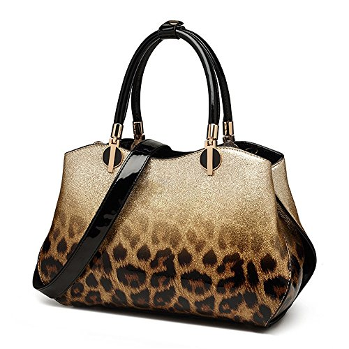 Leopard Women color Silver Leather Leather Strap Joker Bag Gold Shoulder Tote Xuanbao Bag ECxwZBAAq
