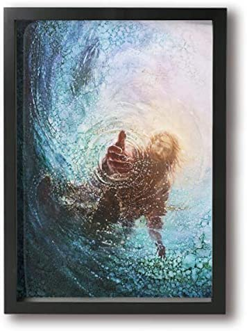 POOPEDD The Hand of God Painting – Jesus Reaching Into Water Oil Canvas Paintings Canvas Art Wall Decor Bathroom Decor Classical Bedroom Artwork for Wall Ready to Hang