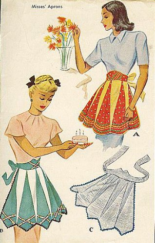 McCalls 1312 Misses' Inverted Triangles Apron Vintage 1949 Sewing Pattern