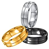Areke 8mm Men Women Wedding Rings,Stainless Steel Matte Polished Engagement Finger Bagues Sets Of 3 Ring Size 6.5