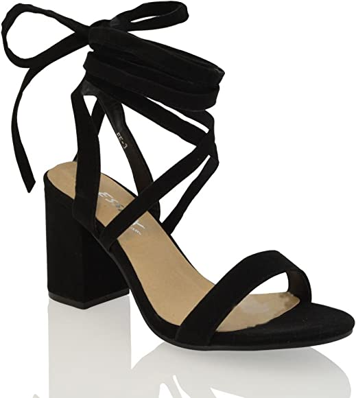 Womens Lace Up Block Mid Heel Ankle Tie