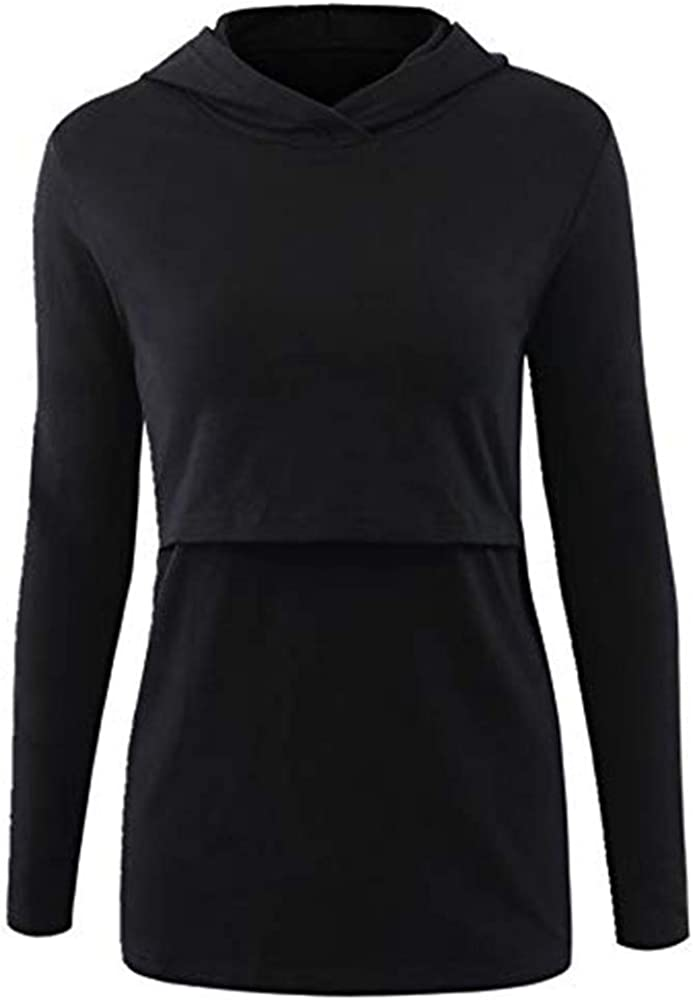 HEETEY Womens Nursing Hoodie Long Sleeves Casual Top Breastfeeding Clothes Blouse Polyester Autumn Pregnant Nursing Baby Pullover
