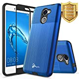 NageBee for Huawei Ascend XT 2 Case with [Full Cover Tempered Glass Screen Protector] [Brushed] Heavy Duty Defender Dual Layer Protector Case for Huawei Ascend XT2 H1711 / Huawei Elate 4G LTE -Blue