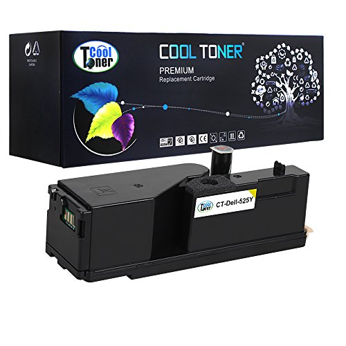 Cool Toner 1 Pack Yellow 1,400 Pages Compatible Toner Cartridge Replacement for Dell 593-BBJW E525 525 Used For Dell MFP E525W