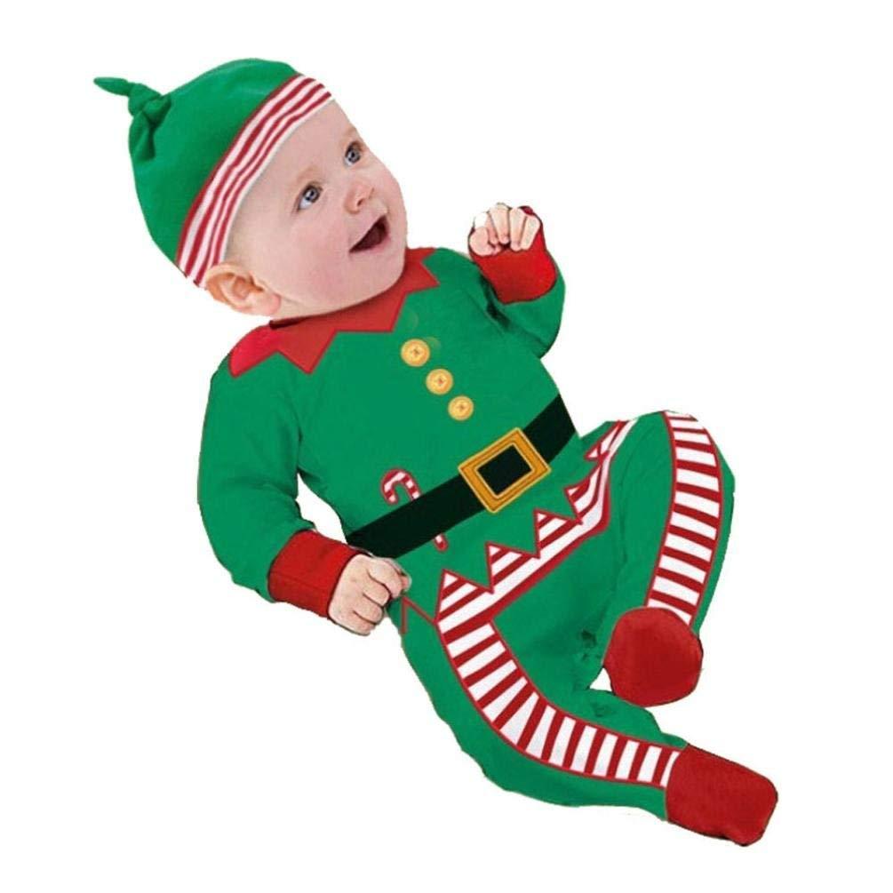 TINGSU - Conjunto de ropa de bebé de Papá Noel, para niños, gorro de peluquería o regalo de Navidad (0 – 6 meses, verde) 0-6 meses verde para niños gorro de peluquería o regalo de Navidad (0 - 6 meses
