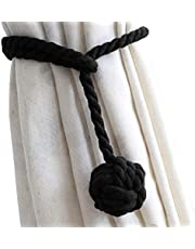 DEZENE 2 Pack Curtain Tiebacks,Handmade Natural Cotton Rope and Round Finial Drapery Tie Bakes,Decorative Holdbacks Holders for Window Sheer and Blackout Panels,Black