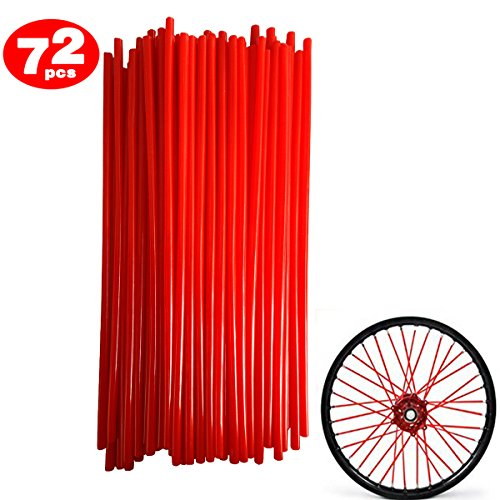 Bike Dirt Red Tires - 72Pcs/Lot Spoke Skin Covers, DIXIUZA Universal Protective Wheel Coil Wraps for Motorcycle Off-road SUV Bicycle (Red)