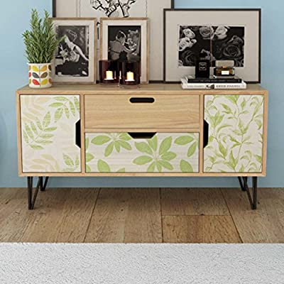 "Festnight Modern Buffet Sideboard Console Table with 2 Drawers and 2 Storage Scandinavian Design MDF 39.4"" x 11.8"" x 19.7"" - This sideboard featuring a Scandinavian design with unique forest patterns will make a practical as well as highly decorative addition to your home. With 2 drawers and 2 storage compartments with doors, the sideboard provides ample storage space for books, multimedia appliances and other items. The tabletop is ideal for displaying decorative objects, photo frames, or potted plants. It can also be used as a low board, high board, side cabinet, etc. - sideboards-buffets, kitchen-dining-room-furniture, kitchen-dining-room - 51G1zx2InmL. SS400  -"