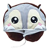 LOVOUS Cute Cartoon Animal Hooded Travel Neck Support Pillow Soft Plush Toy Comfortable U Shaped Pillow with Hat for Airplane, Office (Grey Fox)