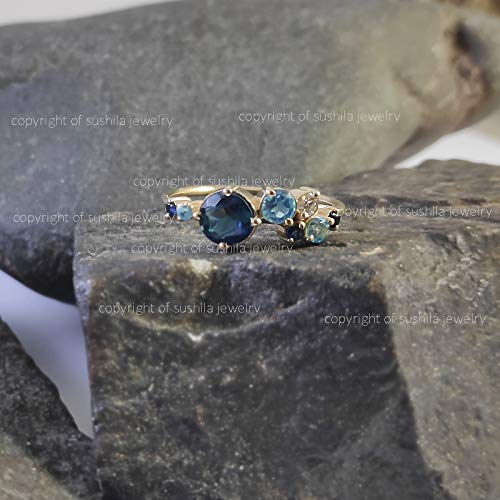 Natural Blue Tourmaline With Diamond Stackable Band Ring IN Solid 14k Yellow Gold Handmade Minimalist Jewelry Gift