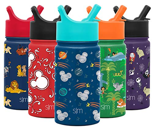 Simple Modern 14oz Disney Summit Kids Water Bottle Thermos with Straw Lid - Dishwasher Safe Vacuum Insulated Double Wall Tumbler Travel Cup 18/8 Stainless Steel - Disney: Mickey Space