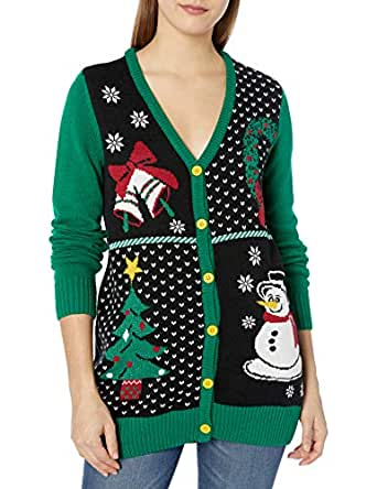 Christmas Ugly Sweater Co Womens SWP5-3410CAMZ 4 Panel Christmas Button Cardigan Sweater Cardigan Sweater - Green - Small