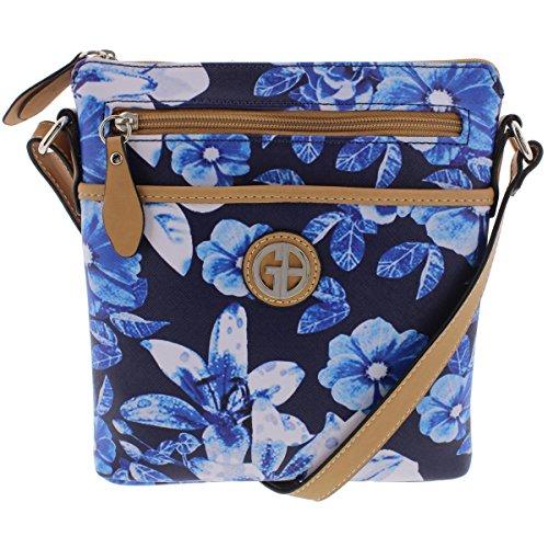 Giani Bernini Womens Floral Print Adjustable Crossbody Handbag Blue Small Bernini Womens Handbag