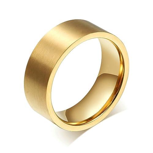 Bishilin 8MM Acero Titanio Chapado en 18K Oro Anillos de Boda Regalo Aniversario Tamaño 12