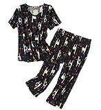 Women's Pajama Sets Capri Pants with Short Tops Cotton Sleepwear Ladies Sleep Sets SY296-Black Llama-2XL