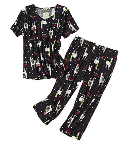 Women's Pajama Sets Capri Pants with Short Tops Cotton Sleepwear Ladies Sleep Sets SY296-Black Llama-M ()