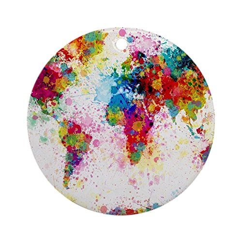 CafePress World Map Paint Splashes Round Holiday Christmas Ornament