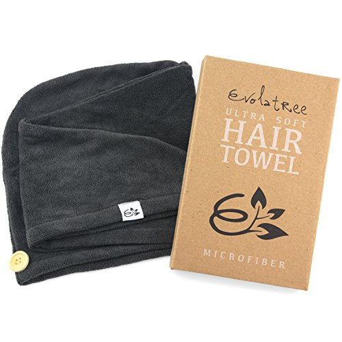 Microfiber Hair Turban (Evolatree Super Absorbent Anti-Frizz Microfiber Hair Towel - Elegant Fast Drying Hair Wrap - Raven Gray)