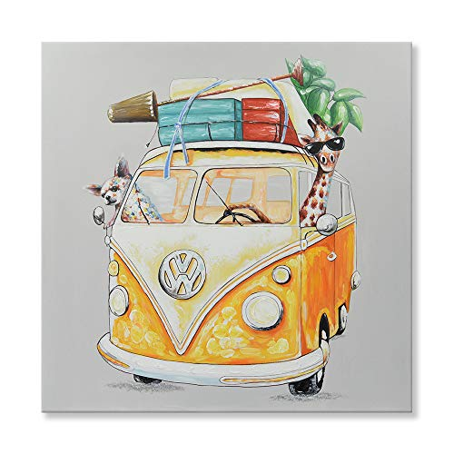 SEVEN WALL ARTS - 100% Hand Painted Oil Painting Cute Animal Giraffe and Dog Driving a Yellow Bus for Road Trip Decorative Artworks for Kids Room Home Decor 24 x 24 Inch ()