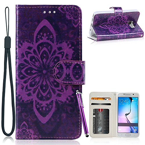 Galaxy S7 Edge Case,CASELAND [Premium Flip] PU Leather Wallet Stand Protective Cover Case for Samsung Galaxy S7 Edge - Purple Flower
