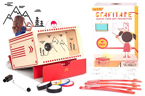 kipod Toys GrafiTape Drawing Projector for Kids to Create Wall Art - Unique Arts and Crafts Kit W/ Projector, Flashlight, 5 Washi Tape Rolls, Drawing Pad - Award-Winning Gift - Girls & Boys Ages 5-99