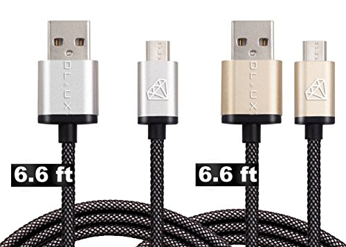 DLUX Micro USB Cable, 2 Pack 6.6ft (2M) Extra Long Mesh Braided High Speed 2.0 USB To Micro USB Fast Charger Cables Android Charger Cord For Samsung Galaxy S7 Edge/S6/S5/S4,Note 5/4/3,LG,HTC,Tablet