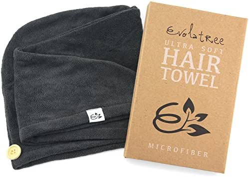 Evolatree Microfiber Hair Towel Wrap - Quick Magic Hair Dry Hat - Anti Frizz Products For Curly Hair Drying Towels - Raven Gray