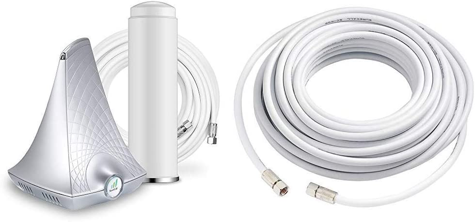 SureCall Flare Cell Phone Signal Booster for Home Omni Antenna Configuration| Boosts Voice, Data for 4G, LTE, 3G & 50' RG-6 Coax Cable with F - Male Connectors, White