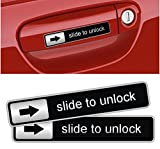 1 Pair Terrific Popular Slide To Unlock Car Sticker Humorous Badge Funny Labels Vehicle Decor Color Black Silver