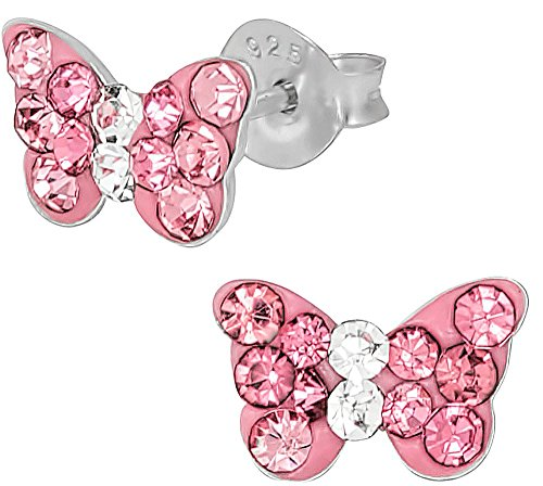 Childrens Butterfly Earrings (Hypoallergenic Sterling Silver Pink Crystal Butterfly Stud Earrings for Kids (Nickel Free))