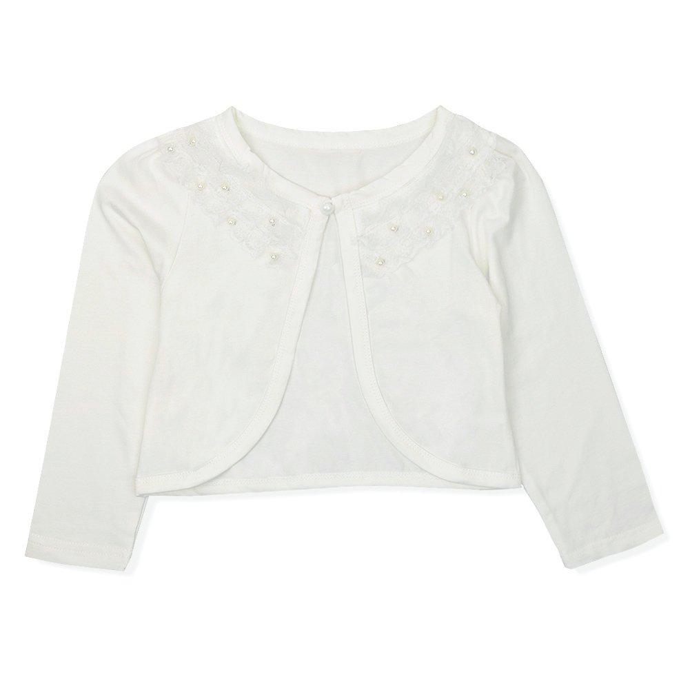 CHICTRY Little Girls' Long Sleeve Beaded Lace Bolero Cardigan Flower Girl Shrug Dress Cover Up Lace Ivory 9-10