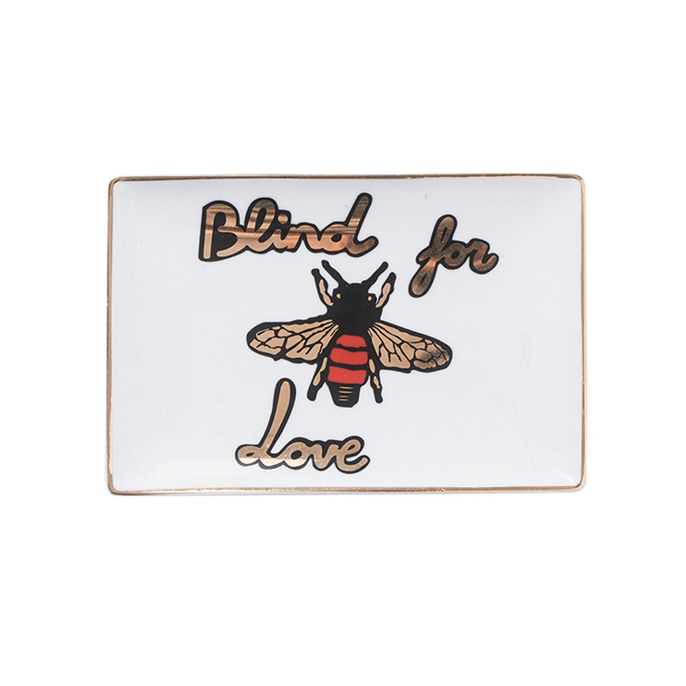 WAIT FLY Elegant Tiger and Bee Pattern Oblong Shape Ceramics Dinner Plate Dessert Cake Plate Tea Fruit Storage Tray Jewelry Boxes Candy Necklace Bracelet Ring Cosmetics Jewelry Organizer, White/ Blue by WAIT FLY