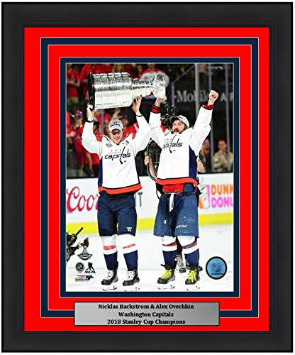 """Washington Capitals 2018 Stanley Cup Champions Alex Ovechkin & Nicklas Backstrom 8"""" x 10"""" Framed and Matted Hockey Photo"""
