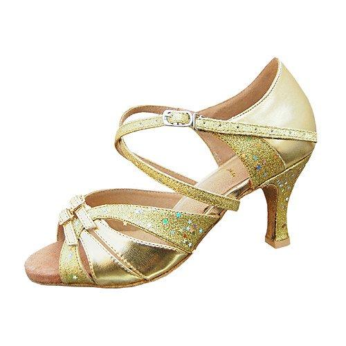 T.T-Q Zapatos de Baile para Mujeres Salón de Baile de Cuero sintético Paillette Tacón de Aguja Medio Mediano Medio