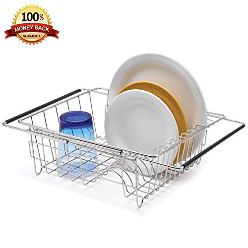 Adjustable Dish Drying in Sink,Stainless Steel Dish Rack Ove