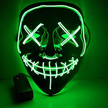 Blue JFXONE New Halloween LED Glow Mask 3 Modes EL Wire Light Up The Purge Movie Costume Partys