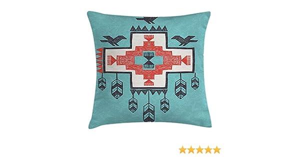 Dutars Funda de cojín holandés Nativo Americano, diseño Tribal Azteca con Dibujo a Mano de Dreamcthcher con Iconos de los pájaros, decoración ...