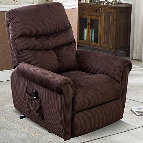 -XMGHTU-Power Lift Recliner Chair for Elderly-Heavy Duty and Safety Motion Reclining Mechanism-Antiskid Fabric Sofa Living Room Chair with Overstuffed Design,Chocolate